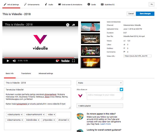 YouTube-videoiden metadata